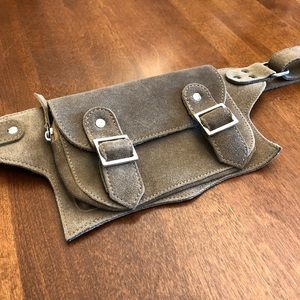 NU | Taupe suede utility fall belt bag pur…